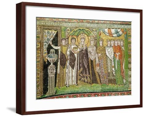 Empress Theodora with her Court of Two Ministers and Seven Women, c.547 AD--Framed Art Print