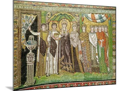 Empress Theodora with her Court of Two Ministers and Seven Women, c.547 AD--Mounted Giclee Print