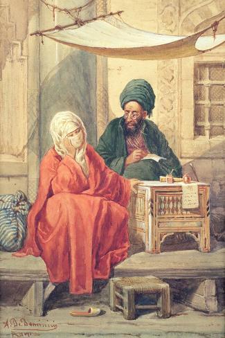The Ottoman Scribe-Antonio de Dominici-Stretched Canvas Print