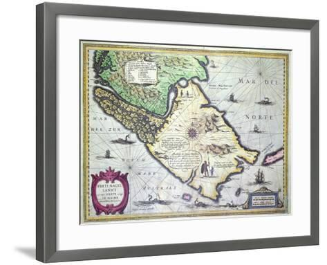 Map of the Magellan Straits, Patagonia--Framed Art Print
