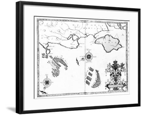 Map No.6 showing the route of the Armada fleet, engraved by Augustine Ryther, 1588-Robert Adams-Framed Art Print