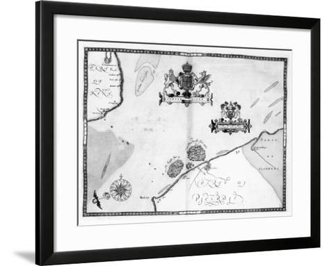 Map No.9 showing the route of the Armada fleet, engraved by Augustine Ryther, 1588-Robert Adams-Framed Art Print