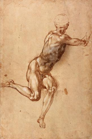 A Seated Male Nude Twisting Around, c.1505-Michelangelo Buonarroti-Stretched Canvas Print