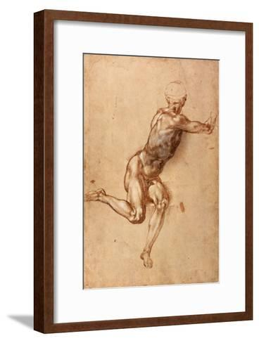 A Seated Male Nude Twisting Around, c.1505-Michelangelo Buonarroti-Framed Art Print