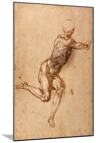 A Seated Male Nude Twisting Around, c.1505-Michelangelo Buonarroti-Mounted Giclee Print