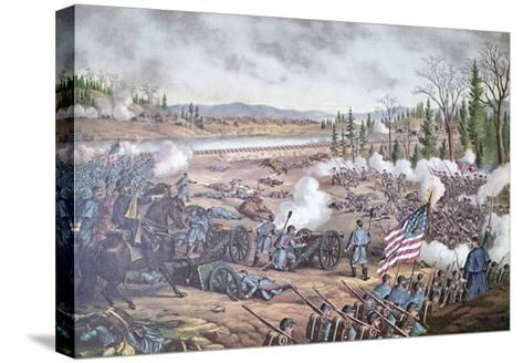 Battle of Stone River, 1863, engraving of Kurz and Allison--Stretched Canvas Print