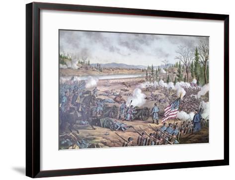 Battle of Stone River, 1863, engraving of Kurz and Allison--Framed Art Print
