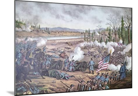 Battle of Stone River, 1863, engraving of Kurz and Allison--Mounted Giclee Print