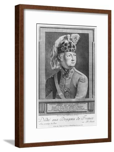 The Chevalier d'Eon as a Dragoon, 1779-P. Jean Baptiste Bradel-Framed Art Print