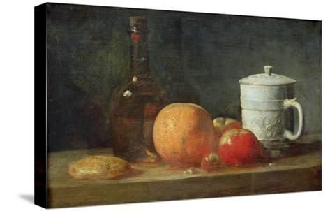 Still Life with Fruit and Wine Bottle-Jean-Baptiste Simeon Chardin-Stretched Canvas Print