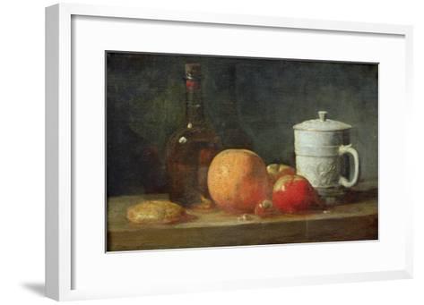 Still Life with Fruit and Wine Bottle-Jean-Baptiste Simeon Chardin-Framed Art Print