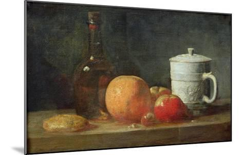 Still Life with Fruit and Wine Bottle-Jean-Baptiste Simeon Chardin-Mounted Giclee Print