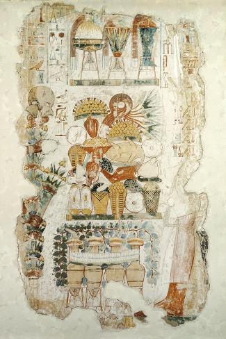 Nebamun Receiving Offerings from His Son, from the Tomb of Nebamun, c.1350 BC--Stretched Canvas Print