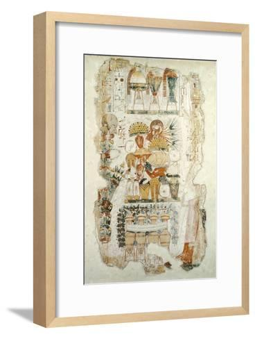 Nebamun Receiving Offerings from His Son, from the Tomb of Nebamun, c.1350 BC--Framed Art Print