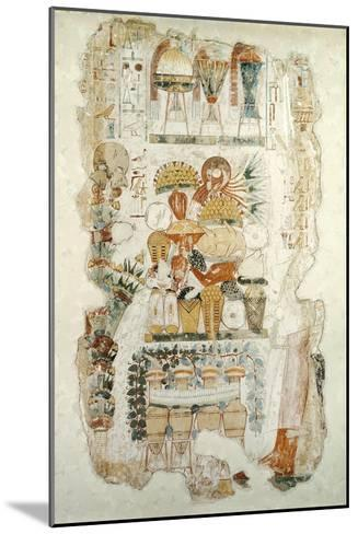 Nebamun Receiving Offerings from His Son, from the Tomb of Nebamun, c.1350 BC--Mounted Giclee Print
