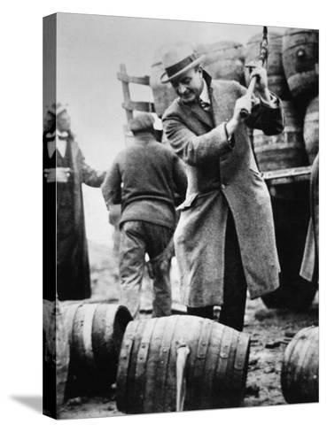 US Federal Agent Broaching a Beer Barrel from an Illegal Cargo During the American Prohibition Era--Stretched Canvas Print