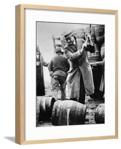 US Federal Agent Broaching a Beer Barrel from an Illegal Cargo During the American Prohibition Era--Framed Art Print