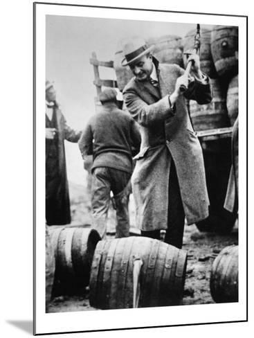 US Federal Agent Broaching a Beer Barrel from an Illegal Cargo During the American Prohibition Era--Mounted Giclee Print