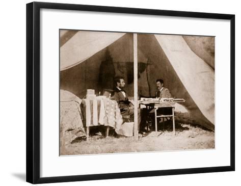The Last Interview Between President Lincoln and General Mcclellan at Antietam, 1862-Mathew Brady-Framed Art Print