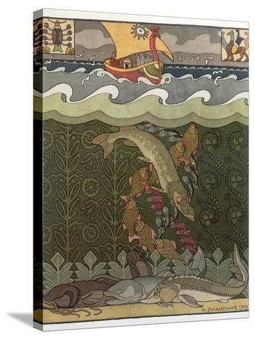 Bogatyr Volga Transforms himself into a Pike, illustration for the Russian Fairy Story, 'The Volga'-Ivan Bilibine-Stretched Canvas Print