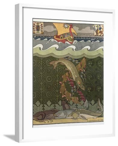 Bogatyr Volga Transforms himself into a Pike, illustration for the Russian Fairy Story, 'The Volga'-Ivan Bilibine-Framed Art Print