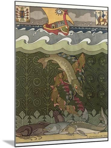 Bogatyr Volga Transforms himself into a Pike, illustration for the Russian Fairy Story, 'The Volga'-Ivan Bilibine-Mounted Giclee Print