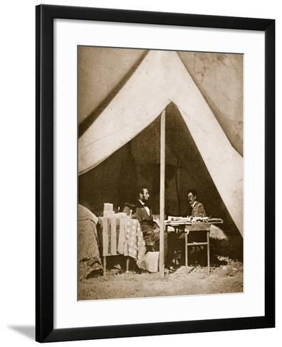 President Lincoln and General Mclellan in Mclellan's Tent, Antietam, 4th October, 1862-Mathew Brady-Framed Art Print