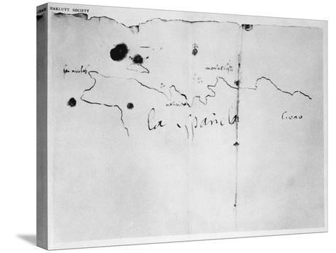 Sketch of the Coast of Espanola, drawn by Columbus on the first voyage, 1492-Christopher Columbus-Stretched Canvas Print