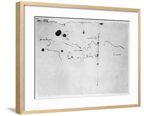 Sketch of the Coast of Espanola, drawn by Columbus on the first voyage, 1492-Christopher Columbus-Framed Art Print