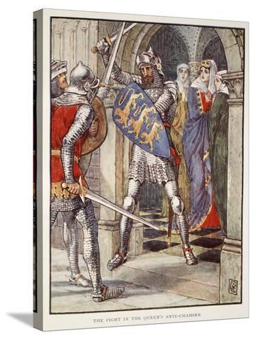 The fight in Queen's Ante-Chamber, from 'Stories of Knights of Round Table' by Henry Gilbert-Walter Crane-Stretched Canvas Print