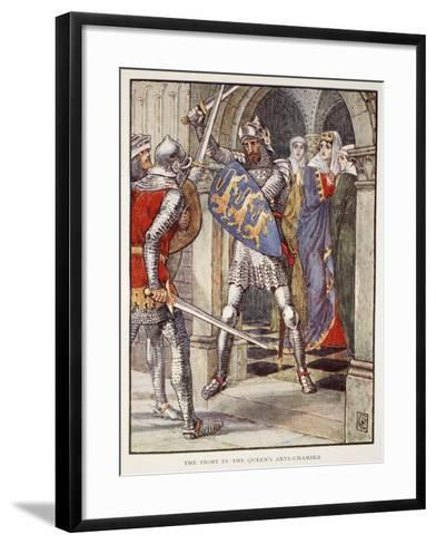 The fight in Queen's Ante-Chamber, from 'Stories of Knights of Round Table' by Henry Gilbert-Walter Crane-Framed Art Print