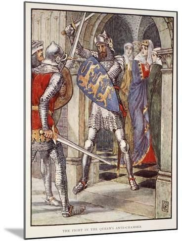 The fight in Queen's Ante-Chamber, from 'Stories of Knights of Round Table' by Henry Gilbert-Walter Crane-Mounted Giclee Print