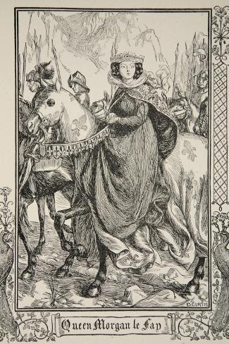 Queen Morgan le Fay, illustration, 'Stories of King Arthur and the Round Table' by Beatrice Clay-Dora Curtis-Stretched Canvas Print