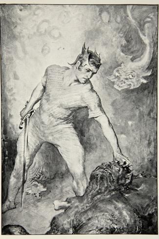 Beowulf shears off head of Grendel, from 'Hero Myths and Legends of British Race' by M.I. Ebbutt-John Henry Frederick Bacon-Stretched Canvas Print