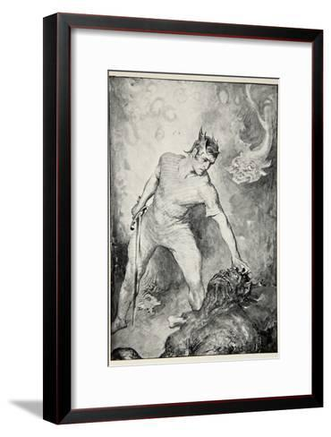 Beowulf shears off head of Grendel, from 'Hero Myths and Legends of British Race' by M.I. Ebbutt-John Henry Frederick Bacon-Framed Art Print