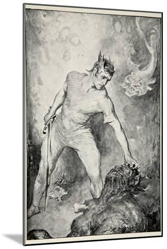 Beowulf shears off head of Grendel, from 'Hero Myths and Legends of British Race' by M.I. Ebbutt-John Henry Frederick Bacon-Mounted Giclee Print