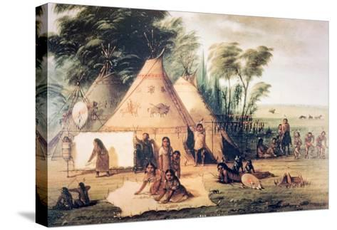 Village of the North American Sioux Tribe-George Catlin-Stretched Canvas Print