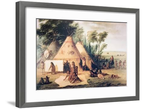 Village of the North American Sioux Tribe-George Catlin-Framed Art Print