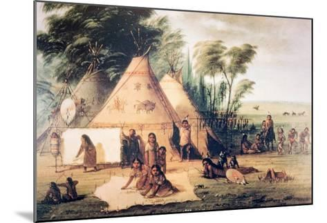 Village of the North American Sioux Tribe-George Catlin-Mounted Giclee Print