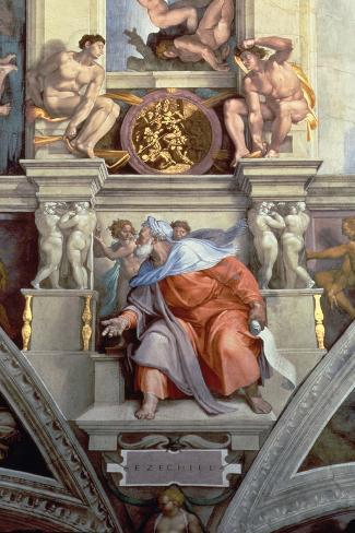 Sistine Chapel Ceiling: the Prophet Ezekiel, 1510-Michelangelo Buonarroti-Stretched Canvas Print