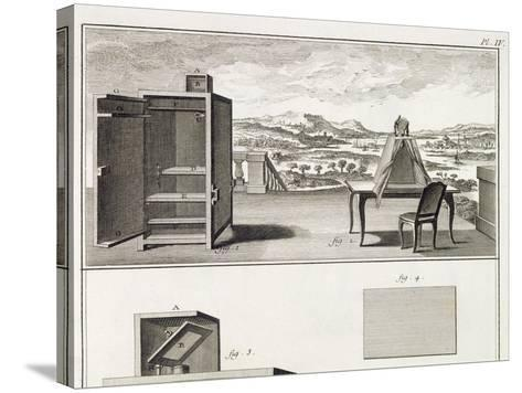 Drawing Aids: a Basic Wooden Camera Obscura and a Portable Obscura, Plate IV from the Encyclopedia --Stretched Canvas Print