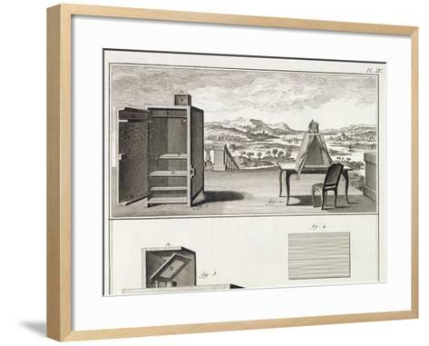 Drawing Aids: a Basic Wooden Camera Obscura and a Portable Obscura, Plate IV from the Encyclopedia --Framed Art Print