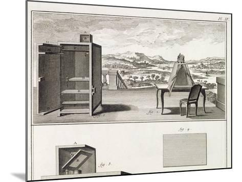 Drawing Aids: a Basic Wooden Camera Obscura and a Portable Obscura, Plate IV from the Encyclopedia --Mounted Giclee Print