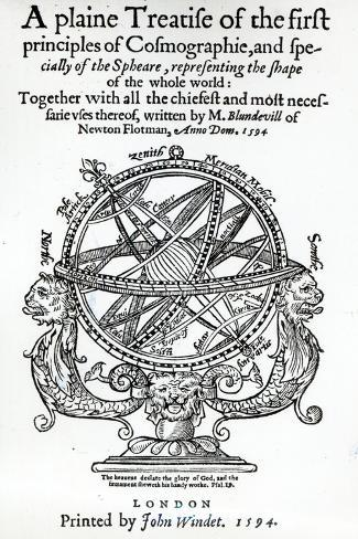 Frontispiece from 'A Plain Treatise of First Principles of Cosmographie' by Thomas Blundeville--Stretched Canvas Print