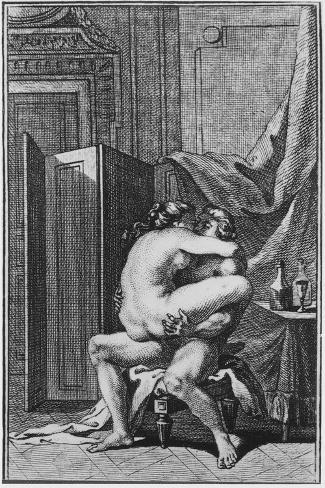 Erotic Scene, Illustration from a French Book--Stretched Canvas Print
