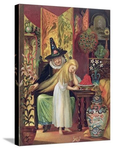 The Old Witch Combing Gerda's Hair in 'The Snow Queen', from Hans Christian Andersen's Fairy Tales-Lorens Frolich-Stretched Canvas Print