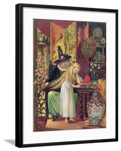 The Old Witch Combing Gerda's Hair in 'The Snow Queen', from Hans Christian Andersen's Fairy Tales-Lorens Frolich-Framed Art Print