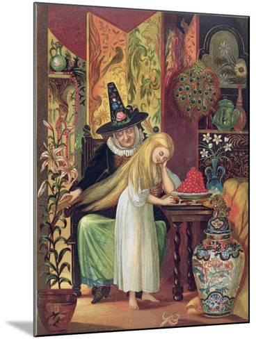 The Old Witch Combing Gerda's Hair in 'The Snow Queen', from Hans Christian Andersen's Fairy Tales-Lorens Frolich-Mounted Giclee Print