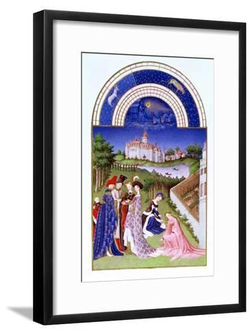 Fascimile of April: Courtly Figures in the Castle Grounds by the Limbourg brothers, from the 'Tres --Framed Art Print