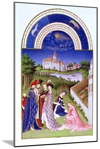Fascimile of April: Courtly Figures in the Castle Grounds by the Limbourg brothers, from the 'Tres --Mounted Giclee Print